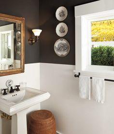 Dark paint and white wood panels. I love the vintage mirror // Rejuvenation