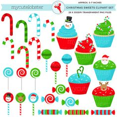 Christmas Sweets Clipart Set clip art set by mycutelobsterdesigns