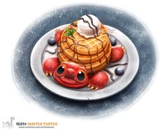 Daily Painting Waffle Turtle by Cryptid-Creations on DeviantArt Cute Food Drawings, Cute Animal Drawings Kawaii, Kawaii Drawings, Kawaii Art, Cute Fantasy Creatures, Cute Creatures, Animal Puns, Animal Food, Food Illustrations