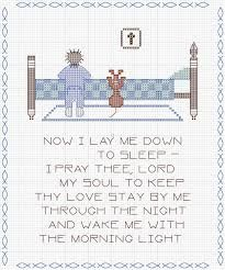 now i lay me down to sleep cross stitch pattern - Google Search