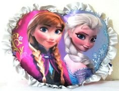 Disney Frozen Elsa and Anna Heart-Shaped Decorative Pillow. For order or details click on the image!