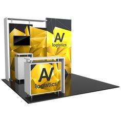 """115.63""""w x 94.5""""h x 42.88""""d aluminum extrusion frame 3 x push-fit fabric graphic panels 1 x table 2 x Lumina 200 LED floodlights 1 x medium monitor mount, can hold monitor 26-40""""/max weight 50 lbs 3 x literature holders 2 x OCH2 cases LCD monitor not included"""