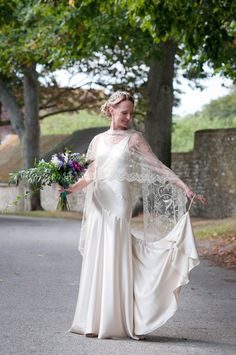 Vintage wedding veil worn over a vintage inspired dress by Hope and Harlequin  http://www.sarareeve.com/