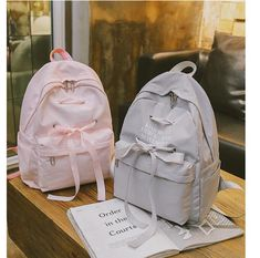 3f51b91e6f Casual Ribbon Design School Backpack Women Solid Color Canvas School Bag  For Teenage Girls Travel Rucksack Lady Q014