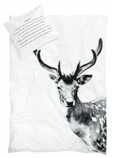 By Nord deer quilt cover (king size) - norsu interiors Deer Bedding, Linen Bedding, Crib Bedding, Bedspread, Cotton Bedding, Junior Bed, Colourful Cushions, Deer Print, Single Duvet Cover