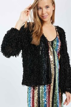 SPARKLE ME Sparkly Black Fuzzy Fur Style Long Sleeve Oversized Open Jacket Cardigan LAST ONE M $48.99 FREE USA SHIPPING W/ FREESHIP20 COWGIRLS UNTAMED wholesale & retail #jacket #sparkle #party #coat #fauxfur #fuzy #cozy #sexy #black #women #freeshipping #wholesale #sequindress #outfit #fashion #style #cowgirl #open #longsleeve #partydress #vneck #Springfashion #Winterfashion #lightweight #clubwear #rodeo #NFR #deal #oversized #cardigan