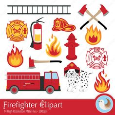 Matching Clipart! Bright and Fun! Firefighter Clipart  Fireman Clipart  Fire Station by CinnamonDove