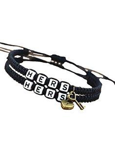 Couple Bracelet Set of Two Lesbian Bracelets Hers Lock and Key Black Rope Bracelet ❤ Joyplancraft