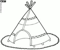 Teepee, native american tent coloring page printable game Le Far West, Printable Coloring Pages, Coloring Sheets, American Indians, Creative Art, Nativity, Monochrome, North America, Crafts For Kids