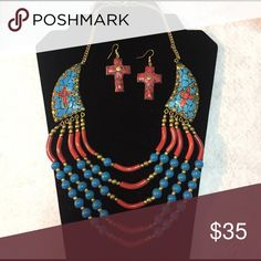 Beautiful Necklace set. Available in clip on Inlay brass and beaded necklace Jewelry Necklaces