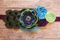 Peacock Inspired Maternity Sash Couture by MyButterflyBoutique, $32.00