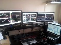 Ever wonder how top traders organize their home trading computers & workspace? Check out the amazing traders' workstation photos submitted by real traders! Trading Desk, Day Trading, Office Setup, Desk Setup, Imac Setup, Teaching Courses, Education Center, Online Trading, Small Office