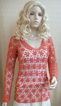Crocheted sweaterblouse  made to order crochet handmade by dosiak, $90.00