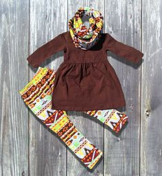 Tribal Brown Aztec 3 Piece Winter Boutique Outfit For Girls Infants Toddler Kids Clothes Holiday