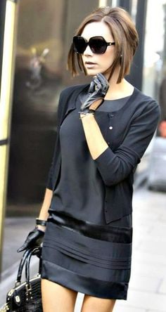 Attractive Black Mini Dress with Black Cardigan, Stylish Gloves, Handbag and Glasses, Love It