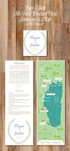 A personal favorite from my Etsy shop https://www.etsy.com/listing/233293678/lake-tahoe-wedding-map-itinerary-tri
