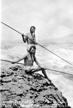 Fishermen at Celilo Falls,  Columbia River Oregon/Washington  (Native American, Indian, Oregon, Washington)