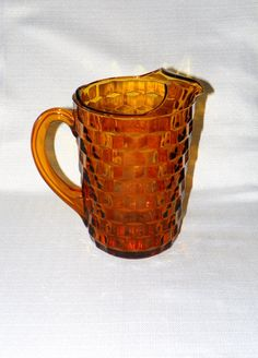 Vintage Indiana Glass Amber Whitehall American Pattern Pitcher