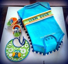 Baby Boy Owl Onsie - Cake by Ann-Marie Youngblood