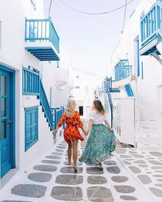 Dancing down the streets of Mykonos early morning with my love @gypsea_lust