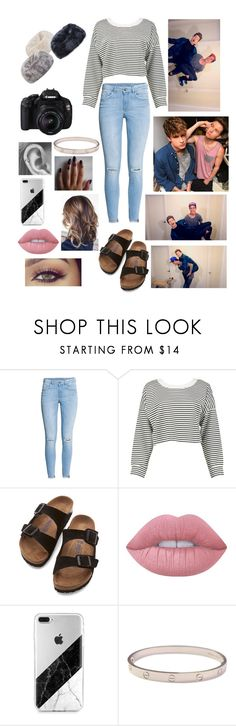 """""""Video with Kian and Ricky"""" by haleymbrown ❤ liked on Polyvore featuring H&M, Boohoo, Birkenstock, Lime Crime and Cartier"""