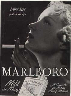 """The new """"ivory tips"""" are supposed to protect the smoker's lips, so the model's lips are full and red, not thin and cracked which would be expected of a smoker. This ad promotes the """"flapper girl"""" lifestyle, of being confident and independent in your actions as a woman. This model has short hair, long nails, red lipstick, and is obviously smoking which are all new trends that were frowned upon until the 1920s."""