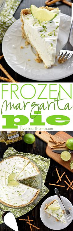 No-Bake Frozen Margarita Pie ~ cool and creamy, with a salty-sweet pretzel crust and a frosty filling flavored with fresh lime juice, tequila, and triple…