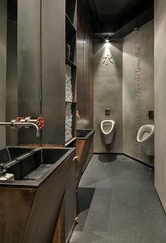 What a great men's restroom! Very manly with all the steel, wood and concrete. Restaurant Bathroom, Modern Restaurant, Contemporary Shower, Contemporary Kitchen Design, Sink Design, Toilet Design, Restroom Design, Bathroom Interior Design, Comfort Room