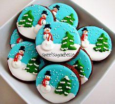 Christmas Sugar Cookies With Royal Icing Easy Christmas Cookie Recipes, Christmas Sugar Cookies, Christmas Sweets, Holiday Cookies, Christmas Baking, Snowman Cookies, Elegant Christmas, Winter Christmas, Tree Cookies