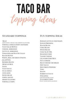 Wedding Food Free printable of taco bar topping ideas! Simple Taco Bar Party Ideas: An easy way to feed your guests for any event! With different toppings available, guests can make theirs exactly how they like! Ideas Party, Event Ideas, Party Games, 30th Party, Fun Ideas, Nacho Bar, Taco Bar Buffet, Taco Bar Menu, Food Bars