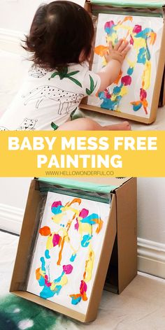babys first mess free painting find out how to make an easy shoebox easel and create babys first artwork with no mess babyart kidsart kidscrafts messfreepainting - The world's most private search engine Activities For 1 Year Olds, Toddler Learning Activities, Infant Activities, Learning Games, Kids Learning, Baby Sensory Play, Baby Play, Baby Kids, Baby Painting