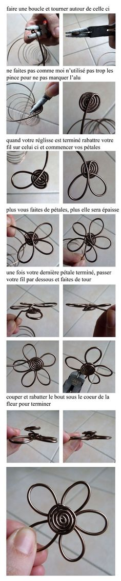This is made with aluminum wire. What if you made it and added a glass pebble in the middle and attached it to a stake for garden art. wire flower picture tute in French. Wire Crafts, Metal Crafts, Jewelry Crafts, Wire Wrapped Jewelry, Wire Jewelry, Jewellery, Sculptures Sur Fil, Bijoux Fil Aluminium, Wire Tutorials