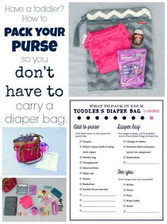Toddler tips! How to pack your purse so you don't have to carry a diaper bag. Includes pictures of everything I include for my toddler in my purse, as well as a free printable checklist so you won't forget anything. Toddler Diaper Bag, Diaper Bag Purse, Diaper Bags, Diaper Bag Organization, Diaper Bag Essentials, Working Moms, Baby Care, Toddler Activities, Free Printable