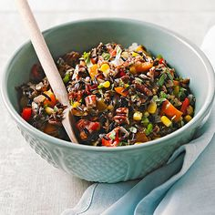 This vegetarian-friendly dinner recipe is a full and hearty meal without adding inches to your waistline! More skinny recipes: http://www.bhg.com/recipes/healthy/dinner/healthy-slow-cooker-recipes/?socsrc=bhgpin100713wildriceslowcooker&page=4