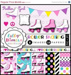 50% off Roller Skating clipart for birthday parties, invites, roller derby, skates, digital papers, printables INSTANT DOWNLOAD