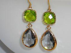 Gold dangle earrings framed glass earrings drop by mcutecharms