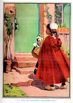 "Little Red Riding Hood by Florence Choate | ""Stokes' Wonder Book of Fairy Tales"" edited by Elisabeth Vernon Quinn.  Illustrated by Choate and Curtis.  Copyright 1917 by Frederick A. Stokes Company of New York."