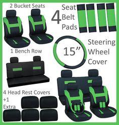 15pc Set Green Black Auto Car Seat Covers Free Steering Wheel Belt Pad Head Rest | eBay