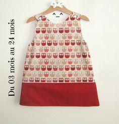 robe fille , robe en coton , robe avec des chouette , robe bébé , robe hiboux , robe trapèze , vêtement : Mode Bébé par les-mimines