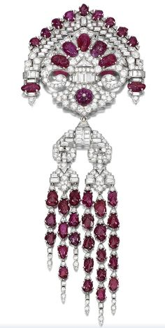 Ruby And Diamond Corsage Ornament Mounted In Platinum - French  c.1930's