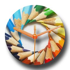 Recycled CD Clock  Colour Pencils Design by whimsicalfishes,
