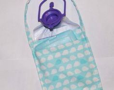 Freezy Pockets™ snap around G tube feeding bags and hold cold packs to keep your feed cold all night long! No more waking up over and over to refill bags! www.etsy.com/shop/tubiepockets