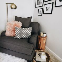 Sharing a few of my favorite things to do when I get a moment to myself, like kicking back to drink coffee in the mornings in this comfy corner of my bedroom. ☕️ #momstimeout