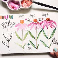 Easy Watercolor Flowers Step by Step Tutorial. Learn how to paint these lovely florals with a detailed step by step lesson from Torrie of Fox + Hazel. Easy Watercolor Flowers Step by Step Tutorial Great little watercolor project for beginners with helpful Watercolor Paintings For Beginners, Watercolor Projects, Watercolour Tutorials, Watercolor Drawing, Watercolor Techniques, Watercolor Cards, Watercolor Flowers, Painting & Drawing, Watercolor Tutorial Beginner