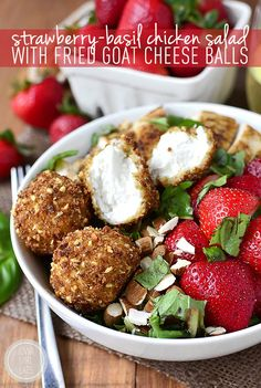 Strawberry-Basil Chicken Salad with Fried Goat Cheese Balls is a fresh and flavor-packed dish - crunchy, creamy, sweet, and savory! #glutenfree   iowagirleats.com