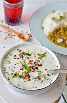 Roasted Garlic n Cucumber Yoghurt Dip :: Cucumber Raita with roasted garlic :: Lehsuni Kheere ka Raita – The Veggie Indian Raitha Recipes, Indian Food Recipes, Vegetarian Recipes, Cooking Recipes, Healthy Recipes, Recipies, Drink Recipes, Raita Recipe Indian, Curd Recipe