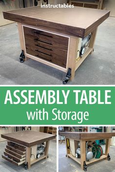 With Storage Build an assembly table with storage for your workshop. Great for keeping everything organized.Build an assembly table with storage for your workshop. Great for keeping everything organized. Woodworking Skills, Woodworking Furniture, Woodworking Crafts, Woodworking Shop, Woodworking Plans, Woodworking Techniques, Woodworking Workshop, Woodworking Finishes, Woodworking Journal