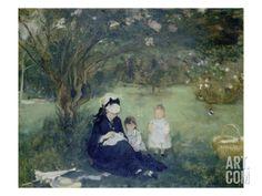 Beneath the Lilac at Maurecourt, 1874 Giclee Print by Berthe Morisot at Art.com