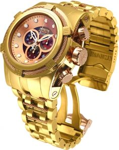 INVICTA Bolt Men 53mm Stainless Steel Gold + Rose Gold Brown dial 5040.D Quartz