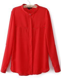 Red V Neck Long Sleeve Loose Chiffon Blouse - Sheinside.com